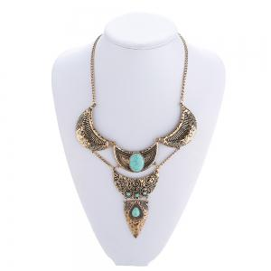 New Vintage Bohemian National Wind Turquoise Alloy Choker Necklace Exaggerated Long Pendant Necklace Women Jewelry Gifts -