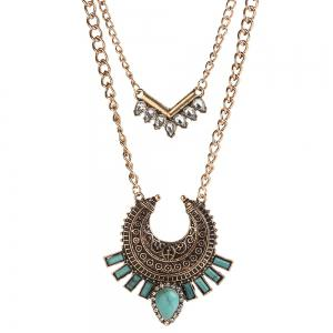 Vintage Bohemian turquoise alloy necklace inlaid zircon geometric link chain multilayer necklace pendant women jewelry -