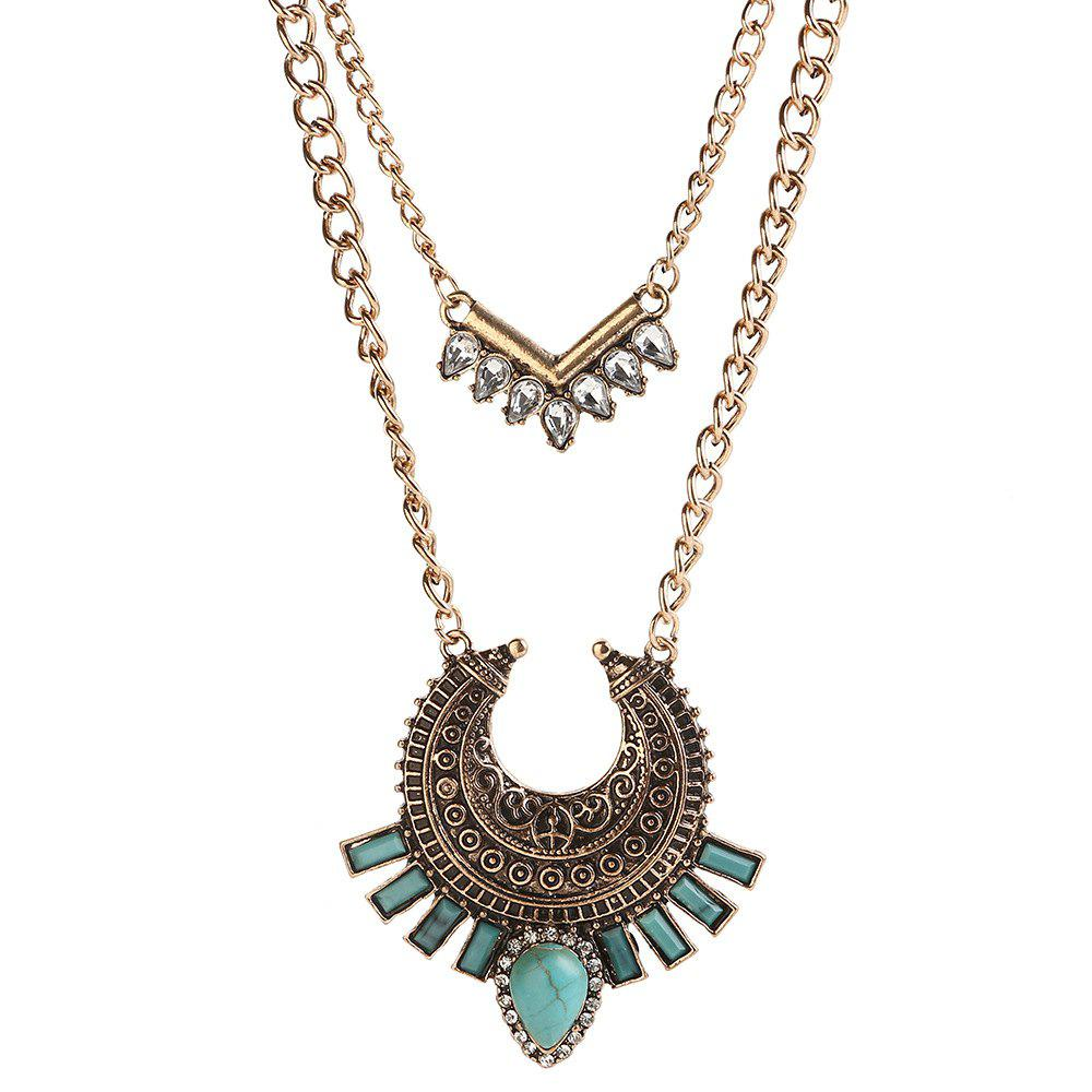 Buy Vintage Bohemian turquoise alloy necklace inlaid zircon geometric link chain multilayer necklace pendant women jewelry