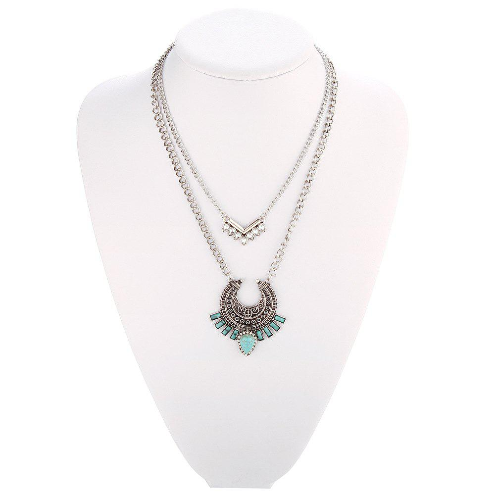 Online Vintage Bohemian turquoise alloy necklace inlaid zircon geometric link chain multilayer necklace pendant women jewelry