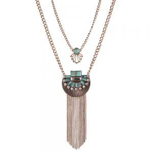 Trendy Bohemian style turquoise multilayer necklace Exaggerated crystal tassel necklaces pendants ladies Accessories -