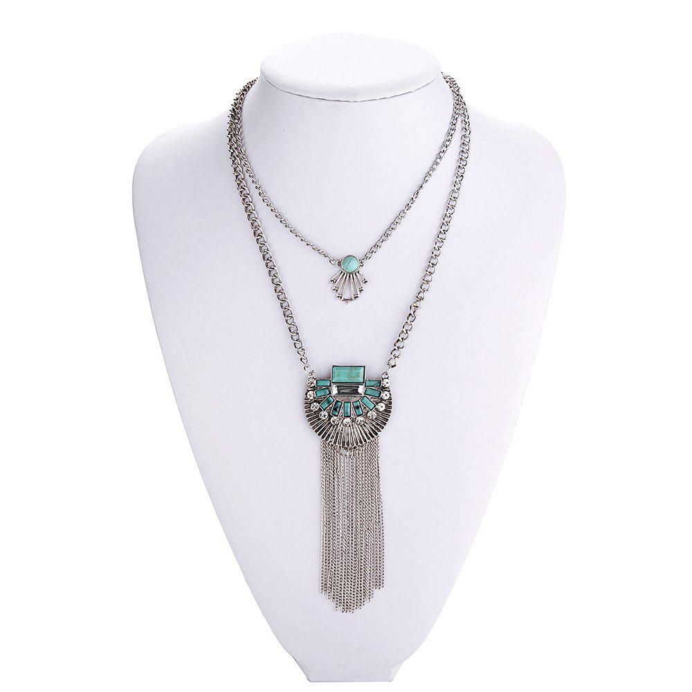 Discount Trendy Bohemian style turquoise multilayer necklace Exaggerated crystal tassel necklaces pendants ladies Accessories