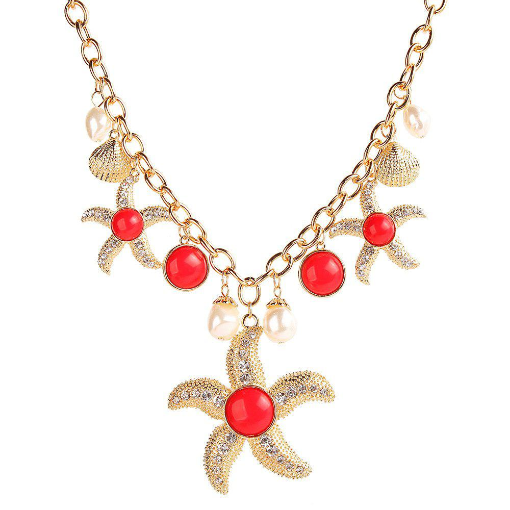 Trendy Trendy Marine Style Items Choker Cool Pearl Shell Starfish Pendant Link Chain Alloy Necklace Youth Fashion Jewelry