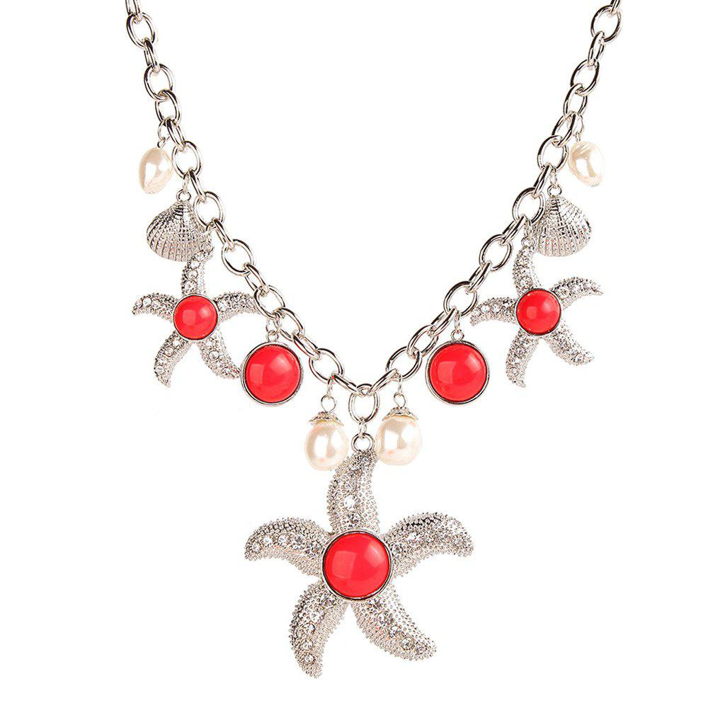 Shops Trendy Marine Style Items Choker Cool Pearl Shell Starfish Pendant Link Chain Alloy Necklace Youth Fashion Jewelry