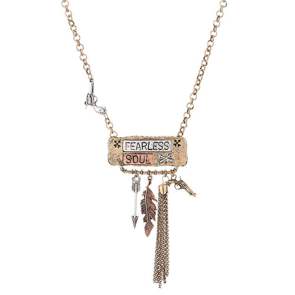 Store New Vintage Long English Alphabet Alloy Necklace Gold Silver Arrow Pistol Leaf Pendant Necklace Youth Fashion Jewelry