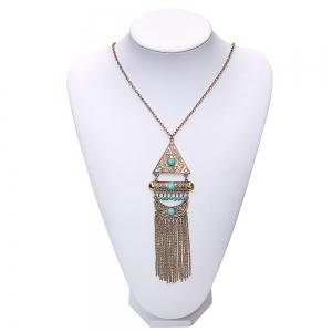 Vintage Bohemian Turquoise Alloy Necklace Geometric Long Tassel Sweater Chain Necklace Pendant Women Jewelry -