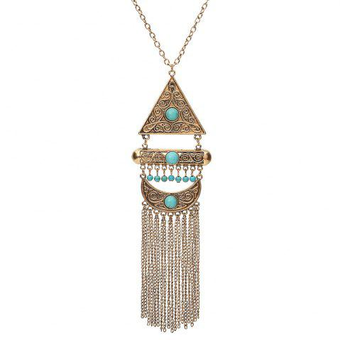 Latest Vintage Bohemian Turquoise Alloy Necklace Geometric Long Tassel Sweater Chain Necklace Pendant Women Jewelry