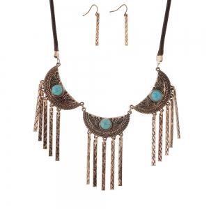 New Vintage Leather Necklace Set Turquoise Earrings Necklace Jewelry Set -