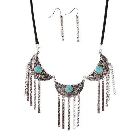 Affordable New Vintage Leather Necklace Set Turquoise Earrings Necklace Jewelry Set