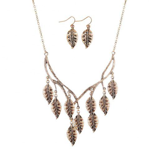 Fashion New Retro Sweater Chain Alloy Plating Ancient Silver Maple Leaf Pendant Necklace Earrings Jewelry Set