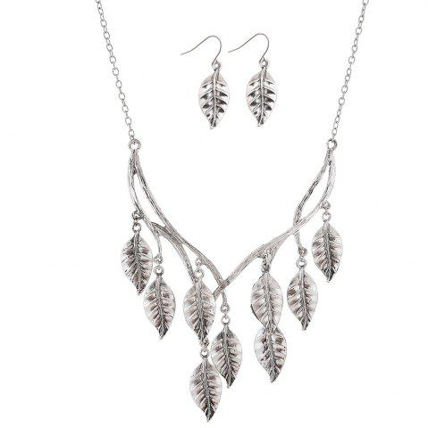 New New Retro Sweater Chain Alloy Plating Ancient Silver Maple Leaf Pendant Necklace Earrings Jewelry Set