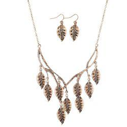 New Retro Sweater Chain Alloy Plating Ancient Silver Maple Leaf Pendant Necklace Earrings Jewelry Set -