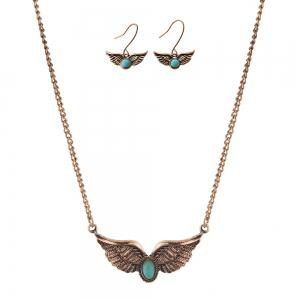 New Turquoise National Wind Wings Necklace fashion Necklaces Earrings Jewelry Set -
