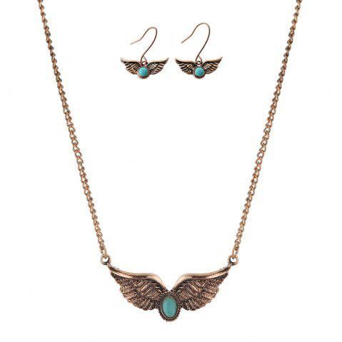 Shops New Turquoise National Wind Wings Necklace fashion Necklaces Earrings Jewelry Set