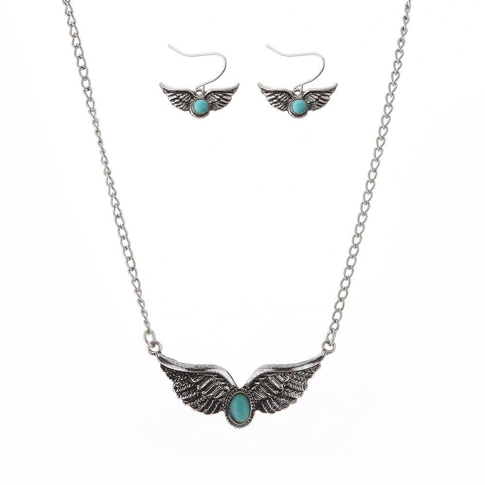 Store New Turquoise National Wind Wings Necklace fashion Necklaces Earrings Jewelry Set