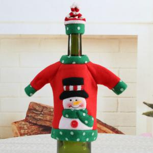 1pcs Red Wine Bottle Cover New Year's Products Christmas Party Decoration Supplies Gifts  Decor for Home -