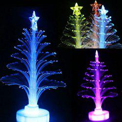 LED Colorful Fiber Optic Nightlight Christmas Tree Lamp Xmas Gift - White - With Built-in Battery