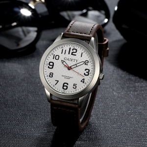 GAIETY  Arabic Numerals Silver Tone Leather Band Wrist Watch for Men G003 -