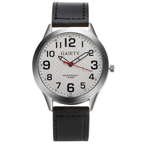 Hot GAIETY  Arabic Numerals Silver Tone Leather Band Wrist Watch for Men G003