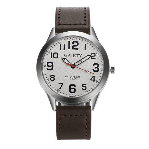 Outfit GAIETY  Arabic Numerals Silver Tone Leather Band Wrist Watch for Men G003