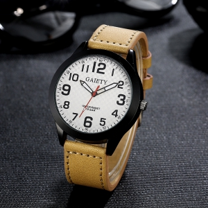 GAIETY Men's Simple Leather Band Black Case Wrist Watch G010 -