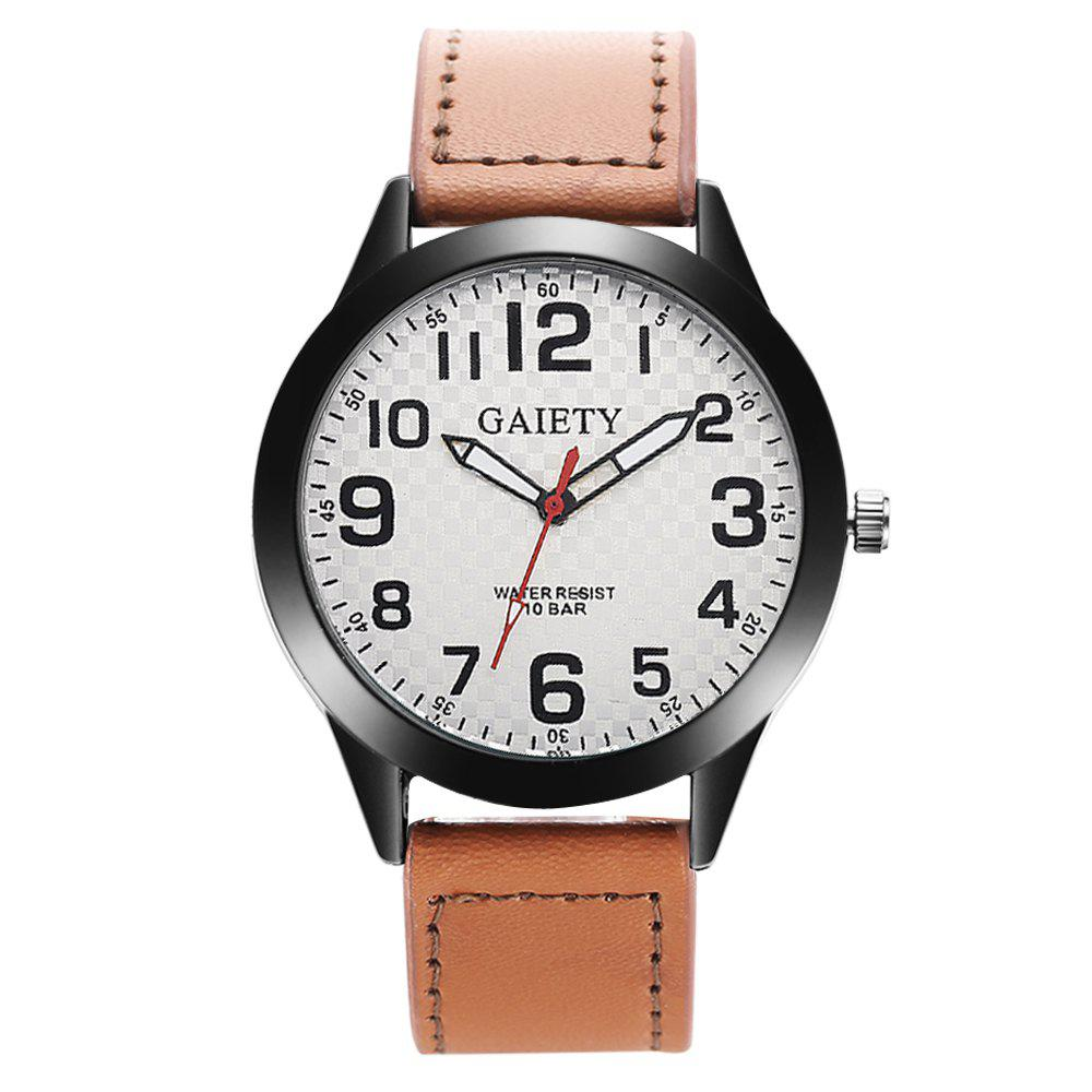 Store GAIETY Men's Simple Leather Band Black Case Wrist Watch G010