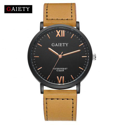 Discount GAIETY Men's Casual Black Case Leather Band Wrist Watches G034