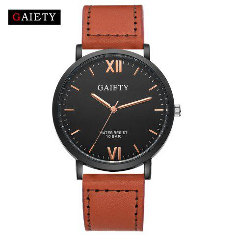 Best GAIETY Men's Casual Black Case Leather Band Wrist Watches G034