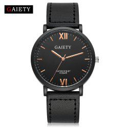 GAIETY Men's Casual Black Case Leather Band Wrist Watches G034 -