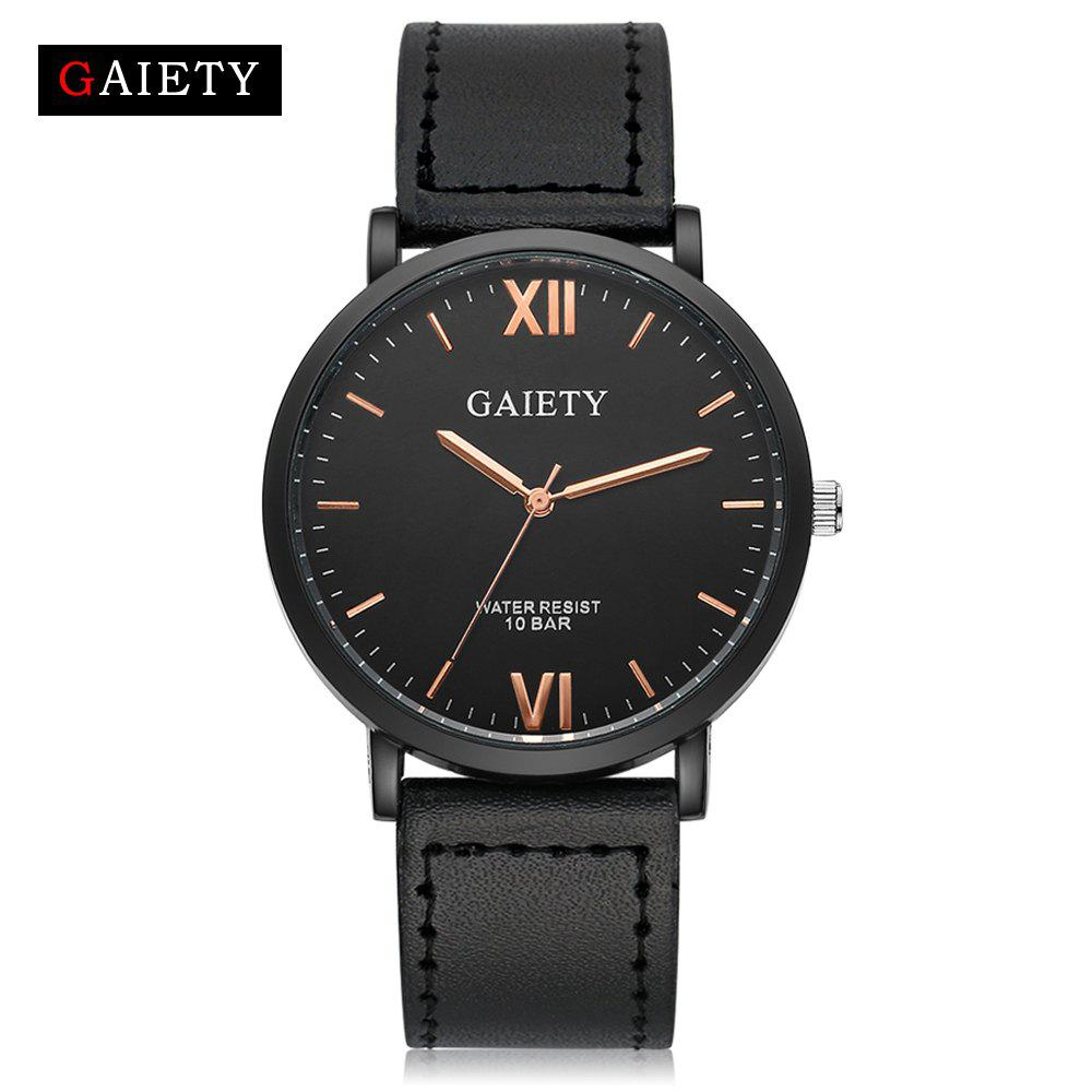 Unique GAIETY Men's Casual Black Case Leather Band Wrist Watches G034