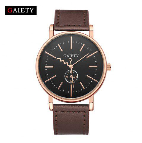 Unique GAIETY Men's Rose Gold Tone Casual Leather Band Wrist Watch G035
