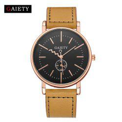 GAIETY Men's Rose Gold Tone Casual Leather Band Wrist Watch G035 -