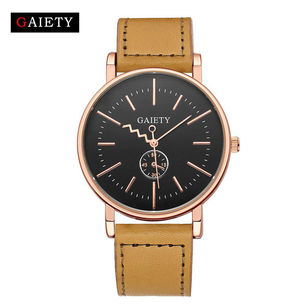 Fashion GAIETY Men's Rose Gold Tone Casual Leather Band Wrist Watch G035