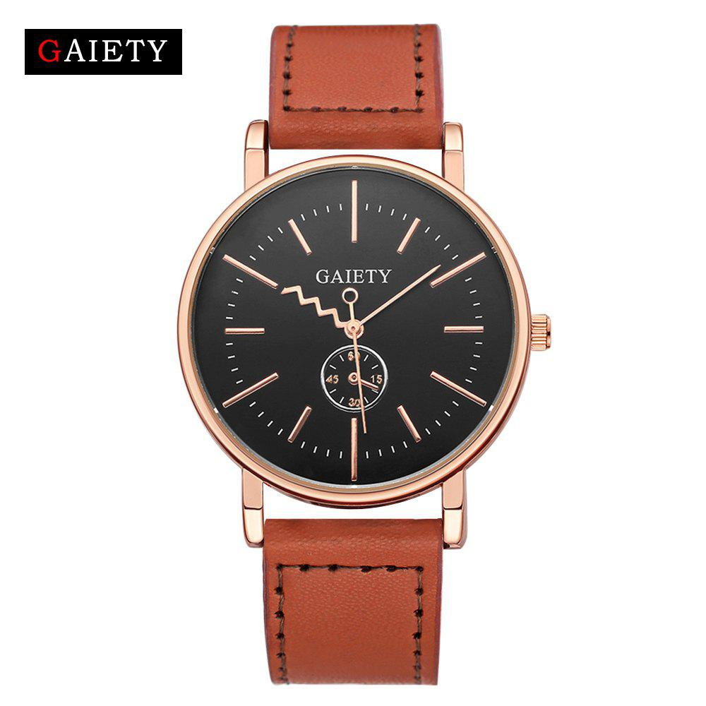 Chic GAIETY Men's Rose Gold Tone Casual Leather Band Wrist Watch G035