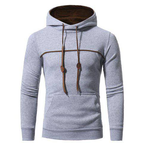 Hot Men's Casual Daily Punk  Gothic T-shirt Color Block Hooded Long Sleeves Cotton