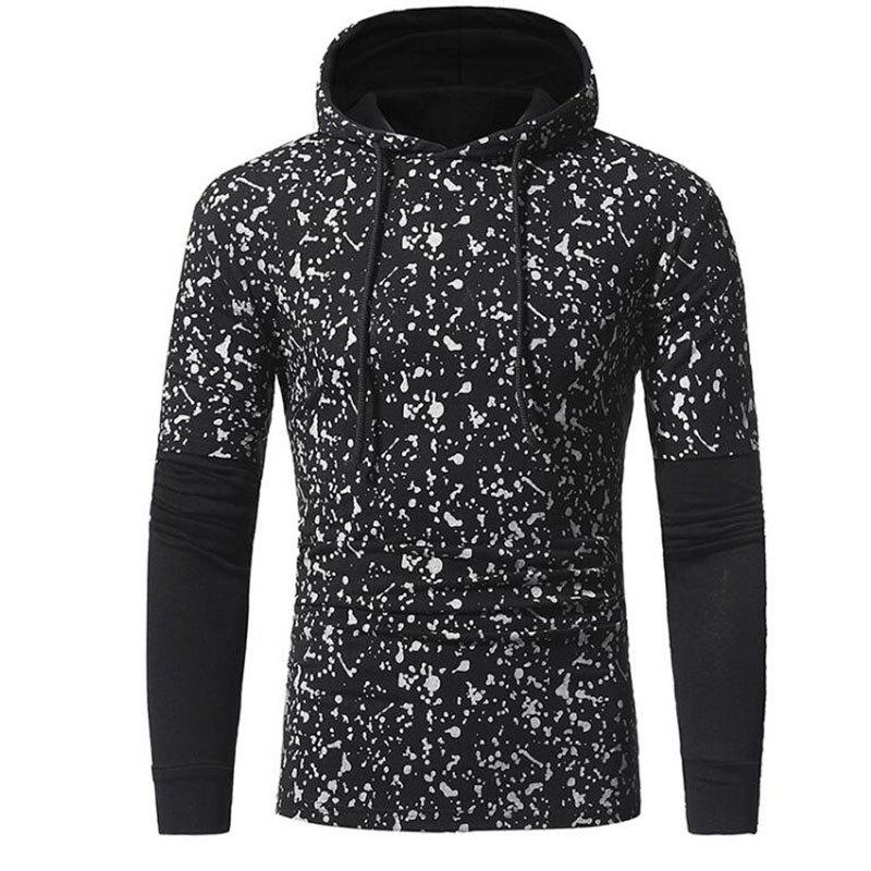 New Men's Casual Daily Simple Hoodie Print Hooded Micro-elastic Cotton Long Sleeve Fall Winter