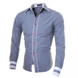 Men's Casual Daily Work Plus Size Simple Spring Fall Shirt Color Block Classic Collar Long Sleeves Cotton Polyester -
