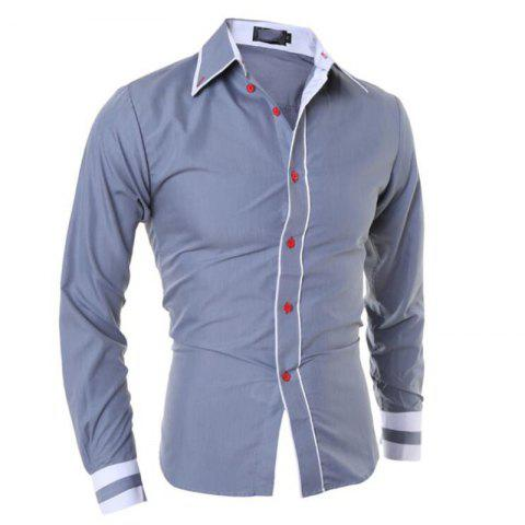 Sale Men's Casual Daily Work Plus Size Simple Spring Fall Shirt Color Block Classic Collar Long Sleeves Cotton Polyester