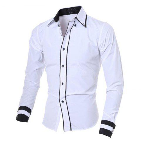 New Men's Casual Daily Work Plus Size Simple Spring Fall Shirt Color Block Classic Collar Long Sleeves Cotton Polyester