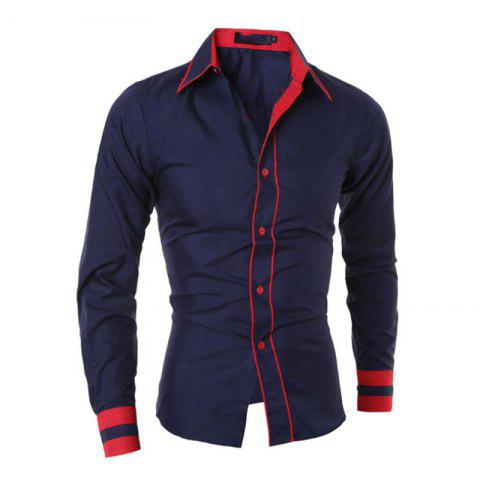 Latest Men's Casual Daily Work Plus Size Simple Spring Fall Shirt Color Block Classic Collar Long Sleeves Cotton Polyester