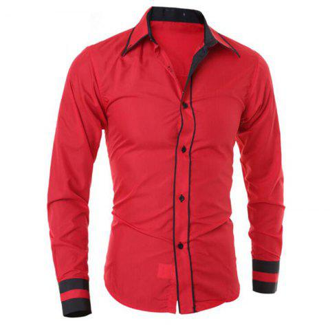 Chic Men's Casual Daily Work Plus Size Simple Spring Fall Shirt Color Block Classic Collar Long Sleeves Cotton Polyester