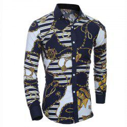 Men's Plus Size Casual Daily Chinoiserie All Seasons Shirt Floral Square Neck Long Sleeves Cotton Polyester Medium -