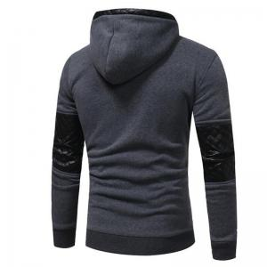 Men's Sports Casual Daily  Patchwork Stand strenchy Cotton Cotton Blend Long Sleeve  Hoodie -