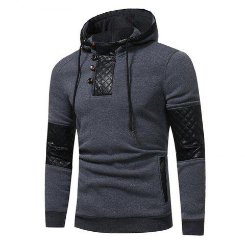 Chic Men's Sports Casual Daily  Patchwork Stand strenchy Cotton Cotton Blend Long Sleeve  Hoodie