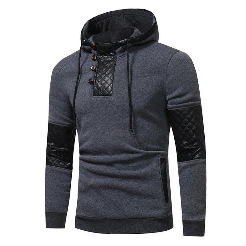 New Men's Sports Casual Daily  Patchwork Stand strenchy Cotton Cotton Blend Long Sleeve  Hoodie