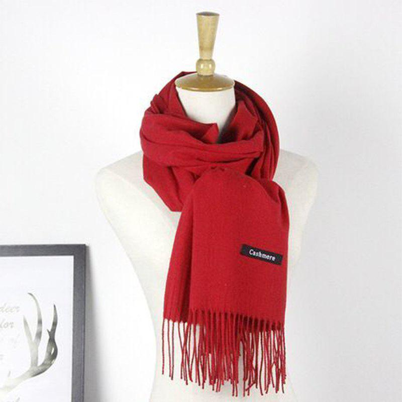 Outfit Autumn Cashmere Scarf Monochrome New Female Tassel Double Color Nap Scarf Shawl