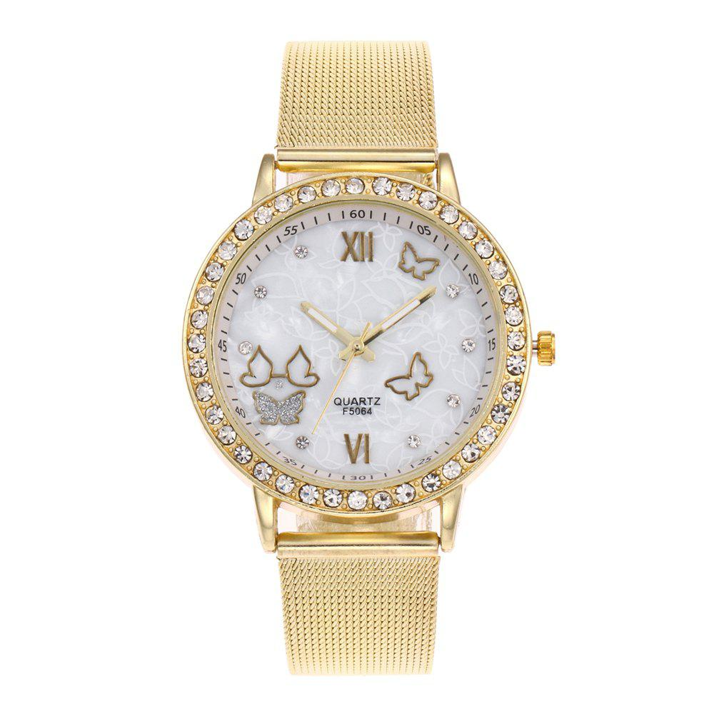 The New Popular Ladies Watch Simple Stylish Golden Net With Double Butterfly Personality Diamond Watch Gift Box