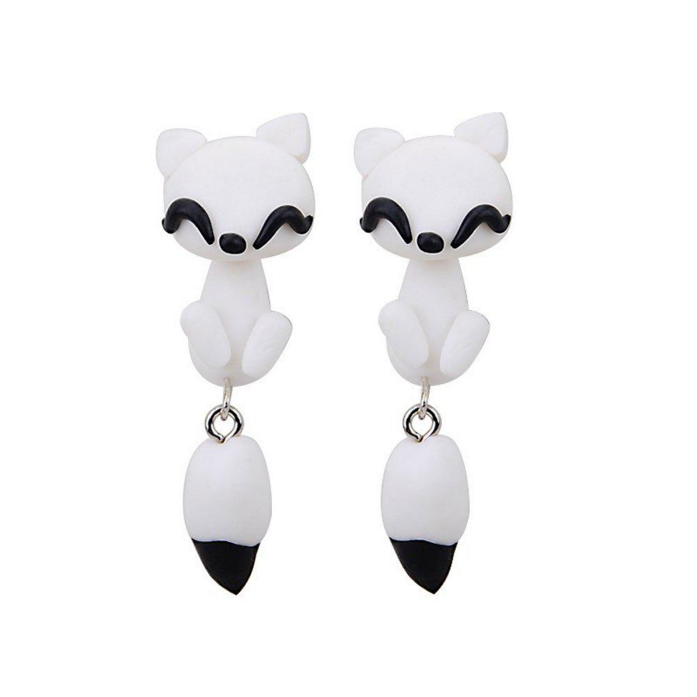 Sale Atongm White Clay Cartoon Fox Earrings for Girls