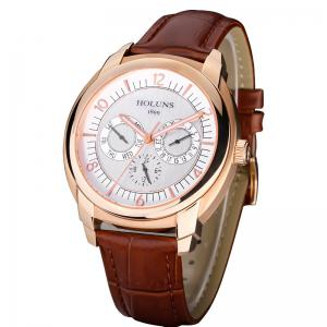 HOLUNS 1166 Business Trend Month Shows A Waterproof Belt of Men Quartz Watch -
