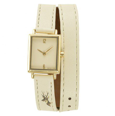 Buy HOLUNS 1173 Fashion Trend Square Dial with Two Stitches of Lady Quartz Watch